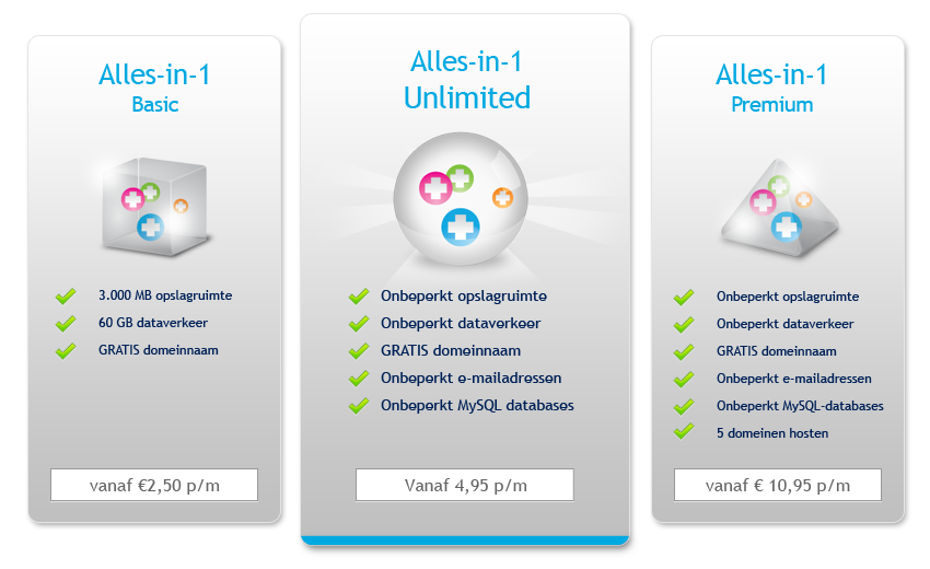 Onbeperkte webhosting: Alles-in-1 webhostingpakketten