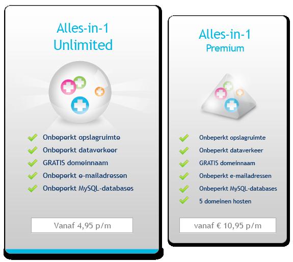 Onbeperkte webhosting: nieuwe pakketten