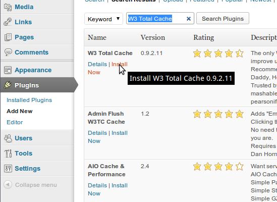 W3TC installeren: stap 3