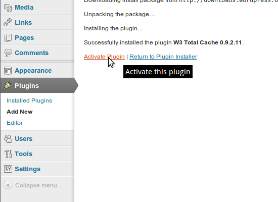 W3TC installeren: stap 5
