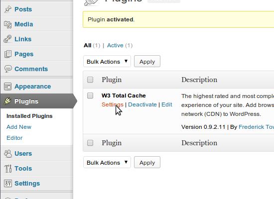 W3TC installeren: stap 6