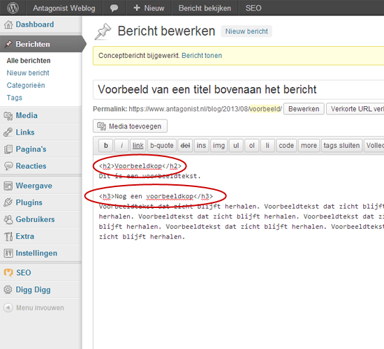 Headings Weergeven In Editor WordPress