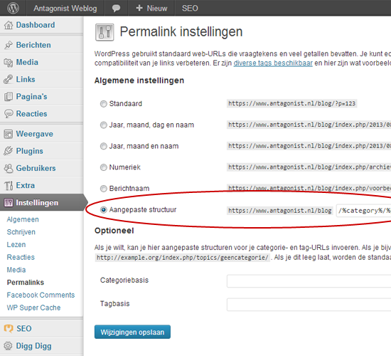 Permalinks Instellen In WordPress