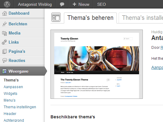 WordPress themes: beheren