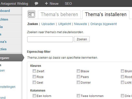 WordPress themes: installeren
