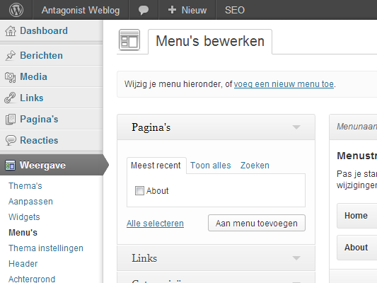 WordPress themes: menustructuur