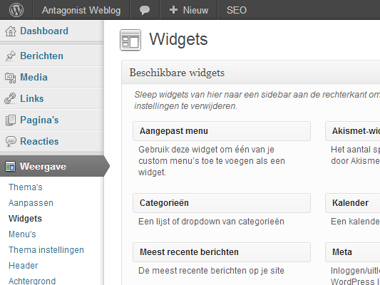 WordPress themes: widgets