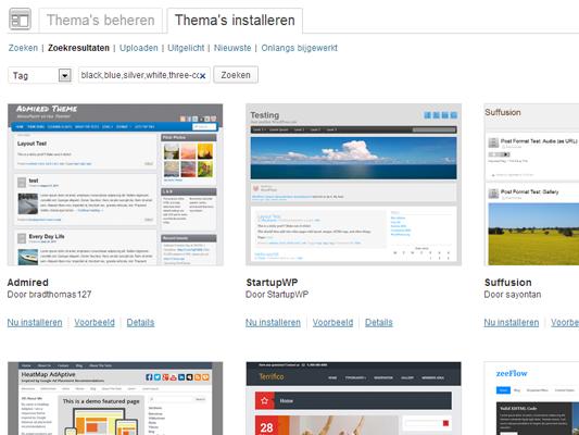 WordPress themes: zoekresultaten