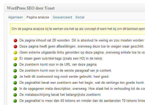 WordPress SEO tips: SEO plug-in tabblad analyse