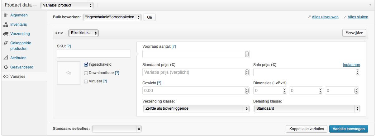 Webshop beginnen: verschillende variaties toevoegen