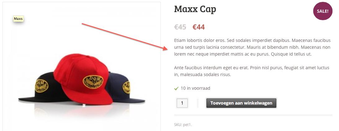 Webshop beginnen: de beschrijving naast het product