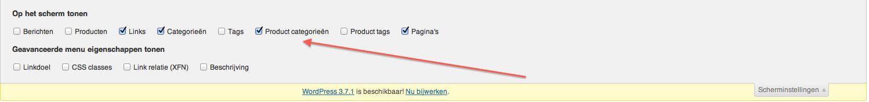 Webshop beginnen: categorieën aanvinken
