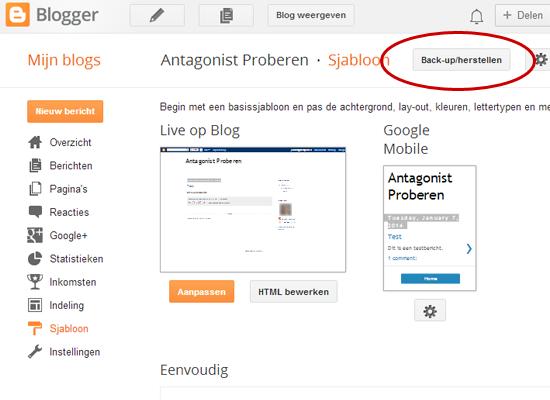 Van Blogger naar WordPress: back-up maken