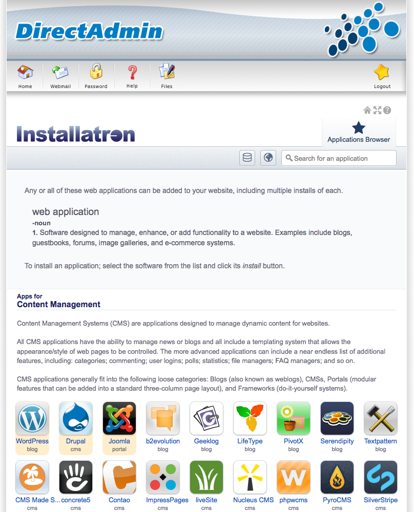 Joomla: featured applications