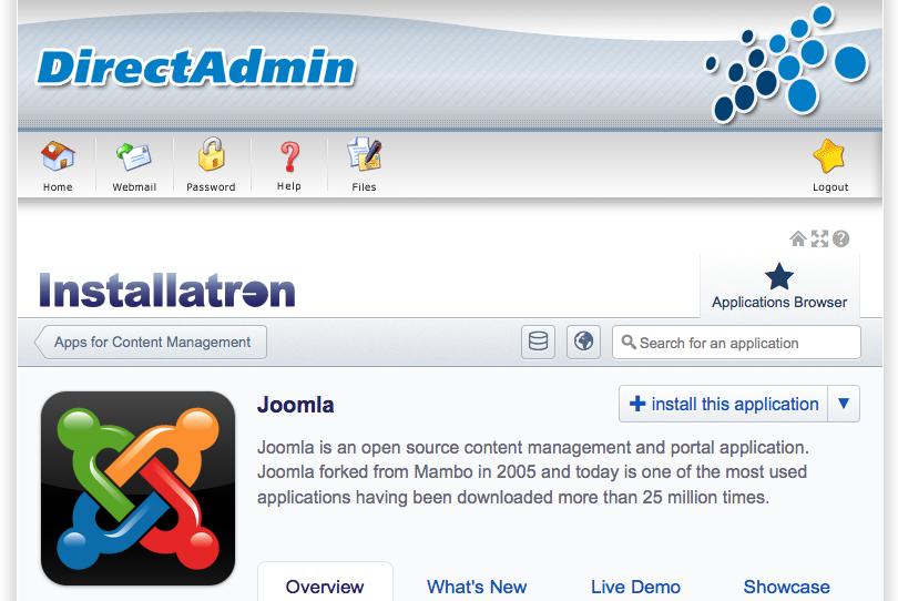 Joomla: op installeren klikken
