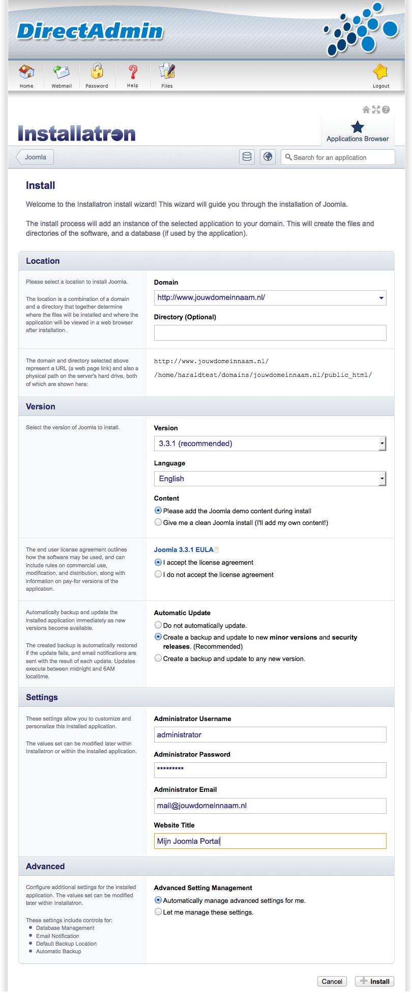 Joomla: instellingen voor Joomla