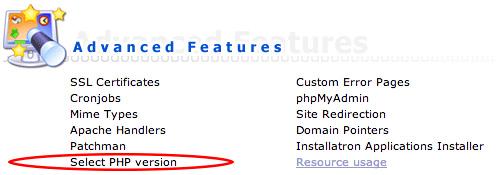 PHP bij Antagonist: PHP versie selecteren