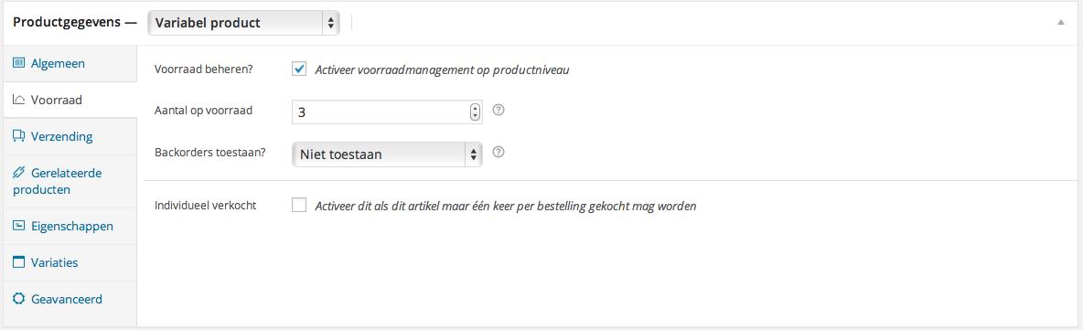 Voorraadbeheer webshop