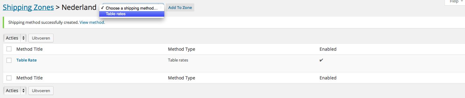 Table Rates toevoegen zone