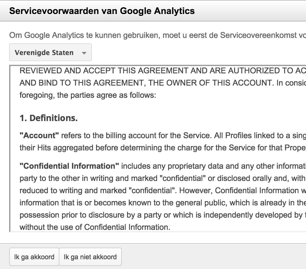 Google Analytics: algemene voorwaarden