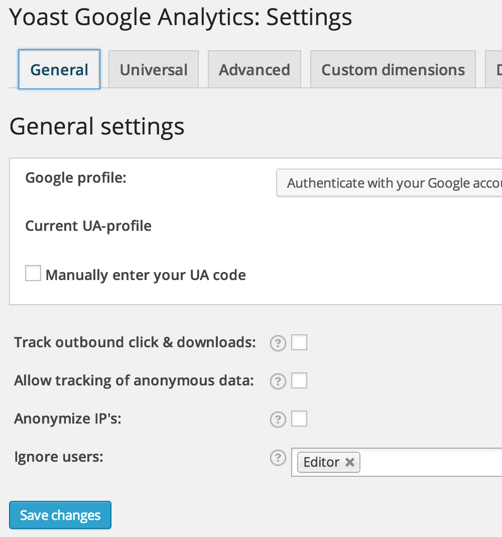 Google Analytics: settings invullen
