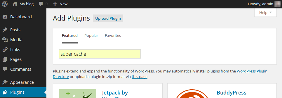 WP Super Cache: plugin downloaden stap 2