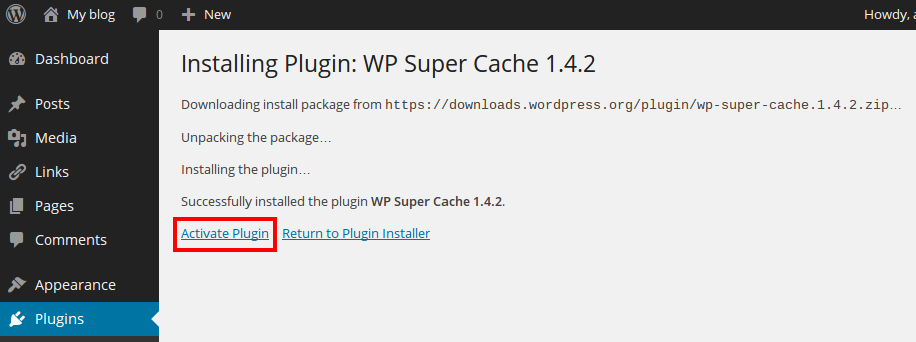 WP Super Cache: plugin downloaden stap 4