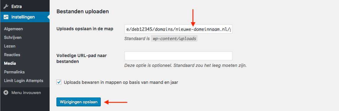 Het pad dat WordPress voor uploads gebruikt wijzigen.