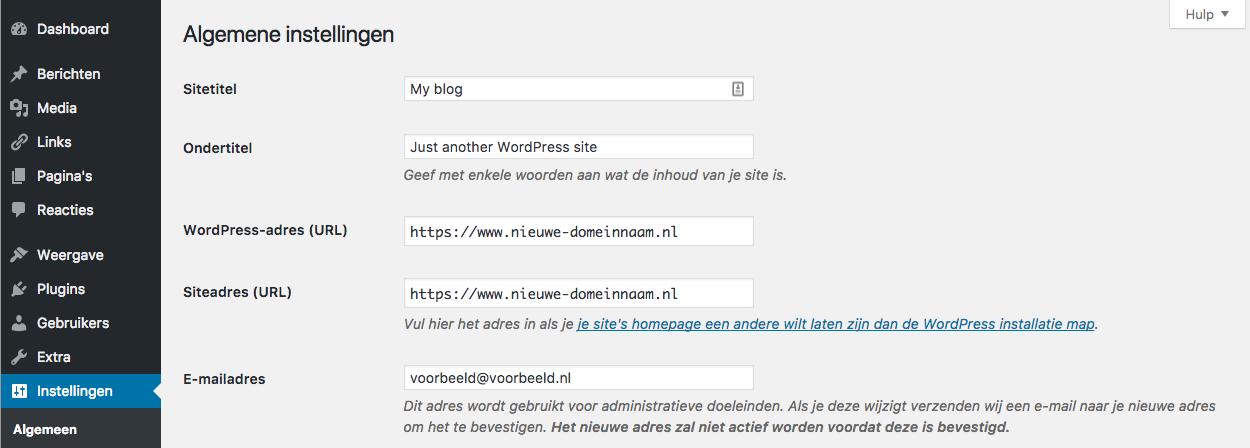 Het wijzigen van het WordPress-adres via het dashboard.