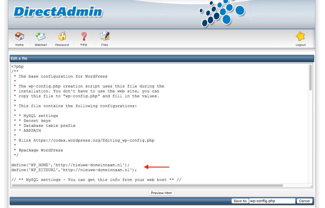 De URL van WordPress aanpassen via het wp-config.php-bestand.