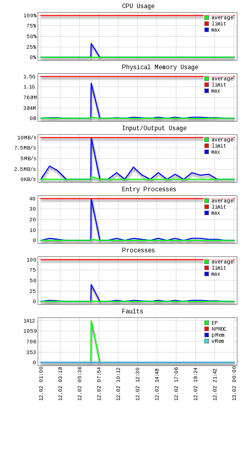 Container hosting: resource usage chart