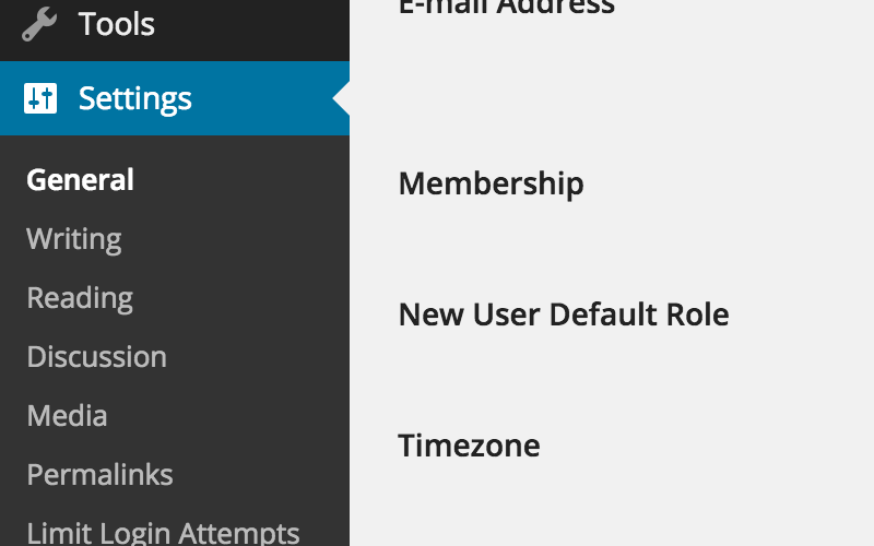 WordPress taal wijzigen: Settings and General