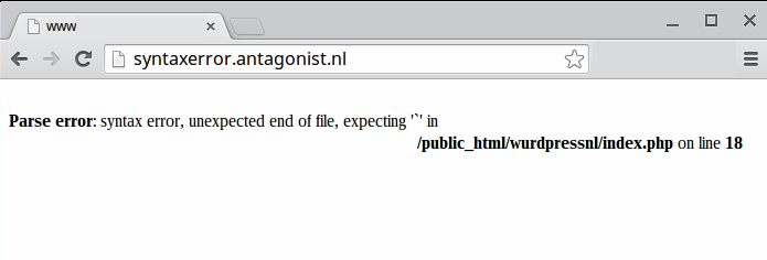 WordPress foutmeldingen: nog een syntax error