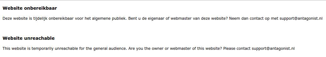 Website onbereikbaar: melding Antagonist