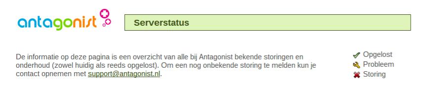 Website onbereikbaar: status-pagina Antagonist