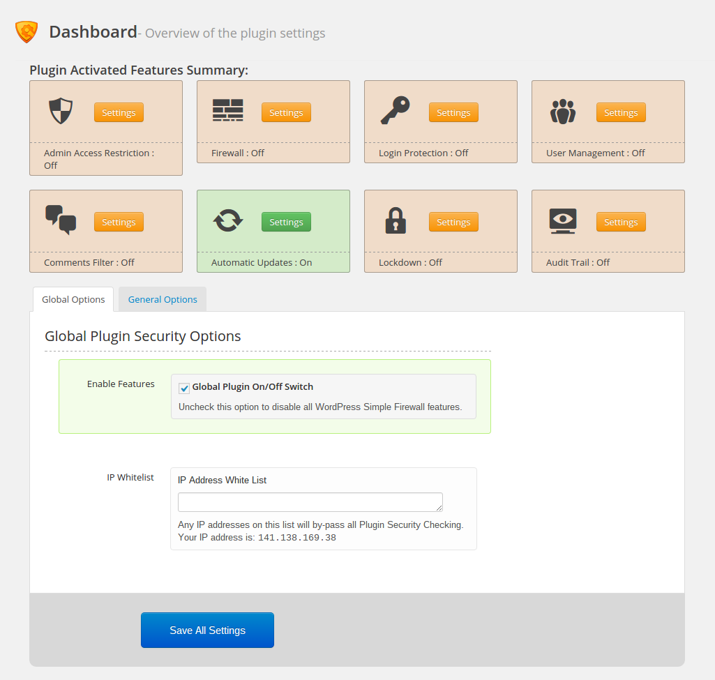 WordPress firewall: dashboard