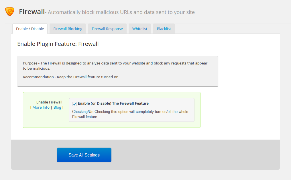 WordPress firewall: enable plugin