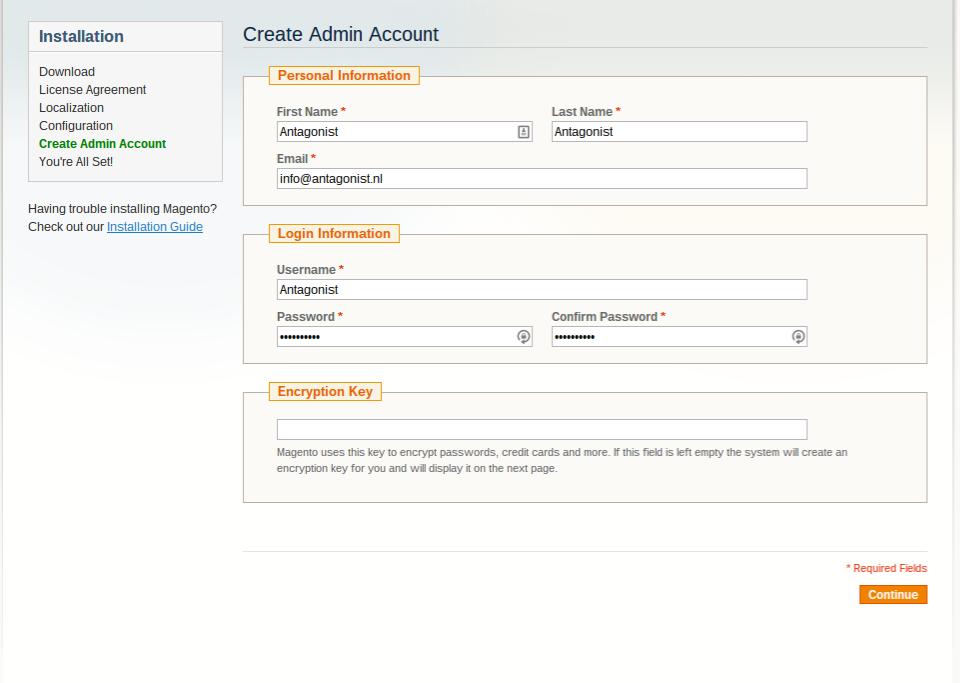 Magento bij Antagonist: admin account instellen