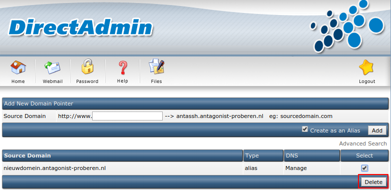 Meer websites: DirectAdmin pointer delete