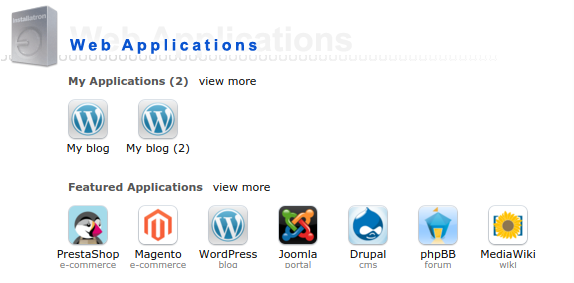 Meer websites: Installatron multi apps