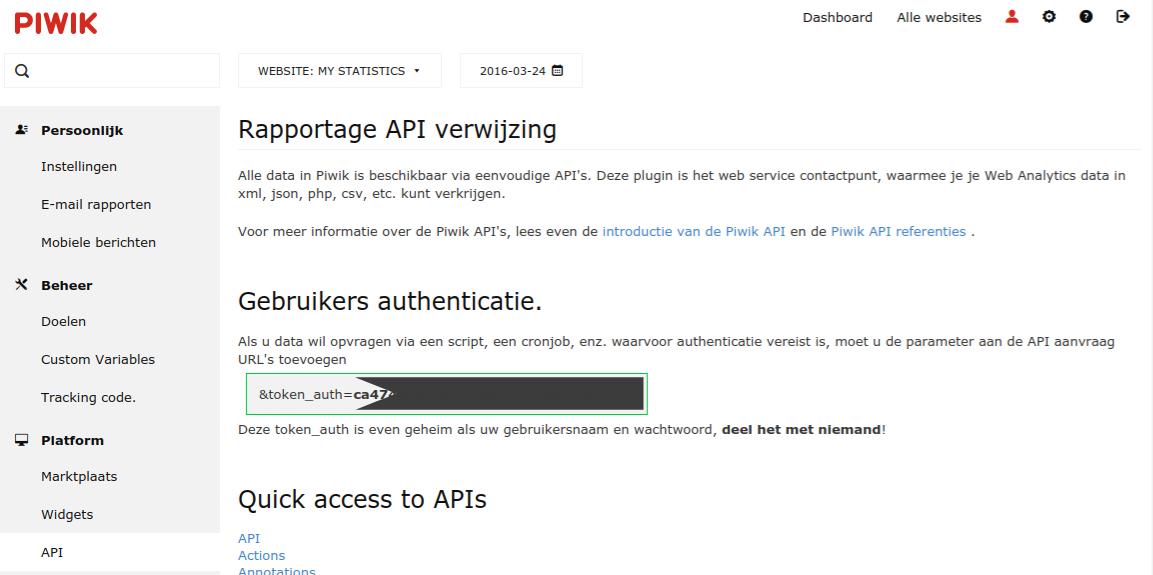 Piwik: waar kan je de API-sleutel terugvinden?