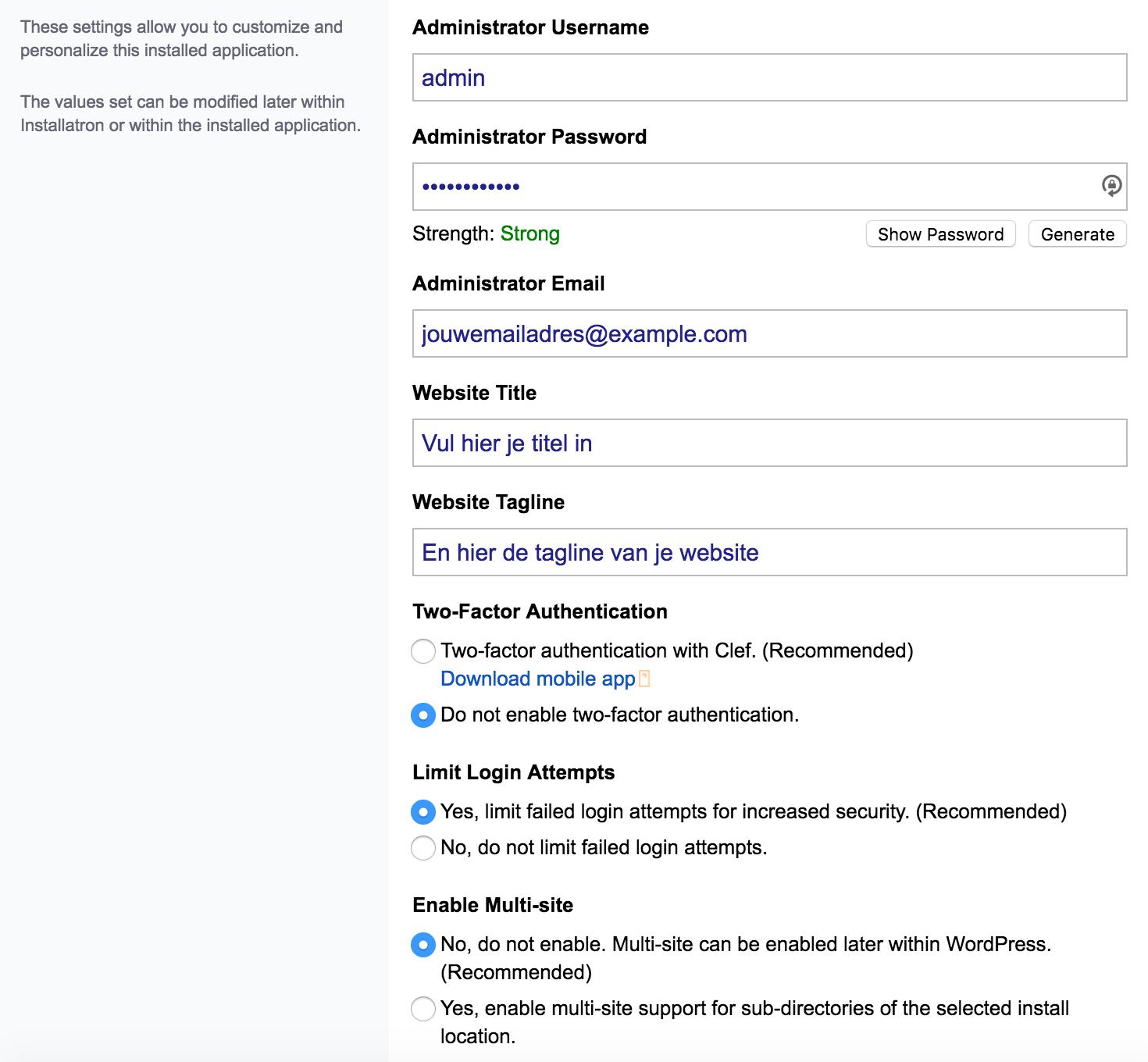 WordPress, het complete stappenplan: beschikbare opties bij het installeren