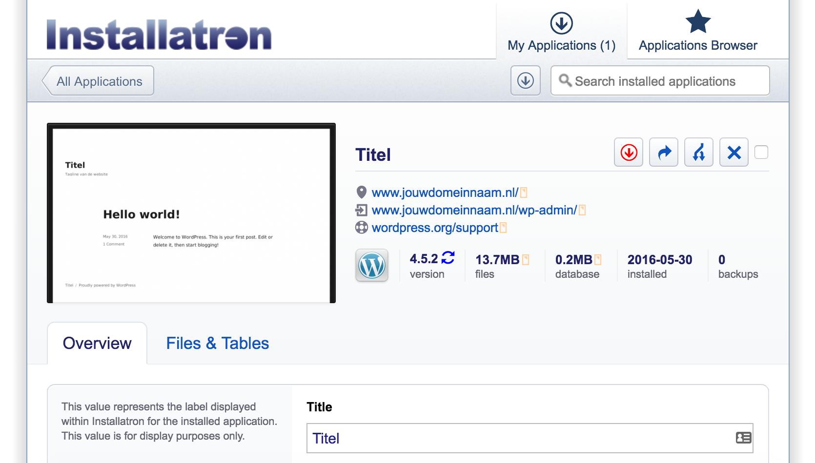 WordPress, het complete stappenplan: het overzicht van je applicatie in Installatron
