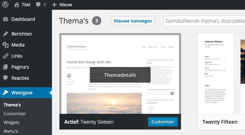 WordPress, het complete stappenplan: het overzicht van je thema's