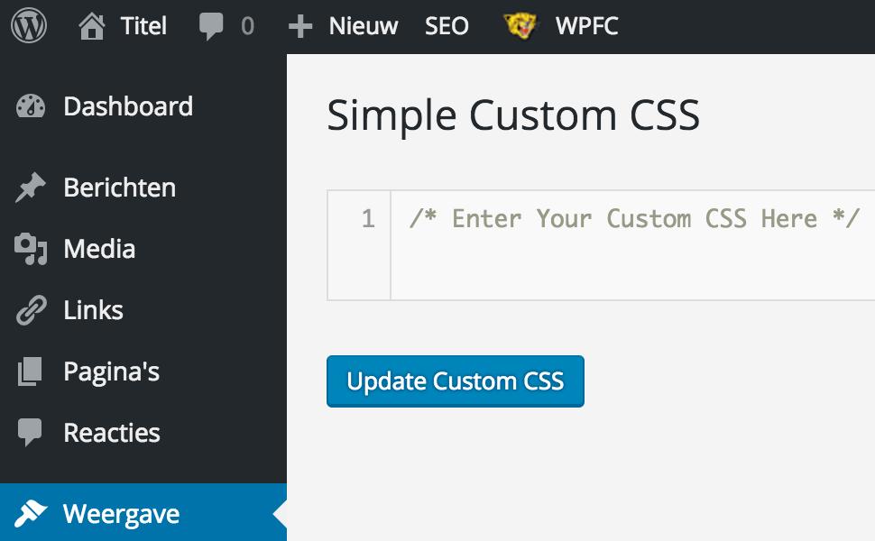WordPress, het complete stappenplan: het instellen van Simple Custom CSS