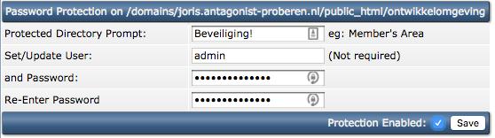 Bouw een eigen ontwikkelomgeving voor je website: het aanmaken van de wachtwoordbescherming