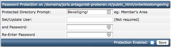 Bouw een eigen ontwikkelomgeving voor je website: de ingestelde wachtwoordbescherming weghalen