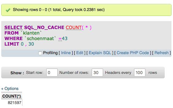 Smart Index Creator: een voorbeeld van een snelle query, na het toevoegen van een index