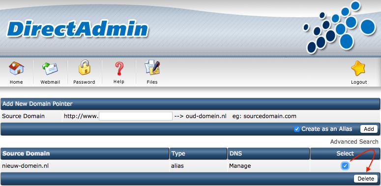 Je domeinnaam veranderen: het aliasdomein weghalen