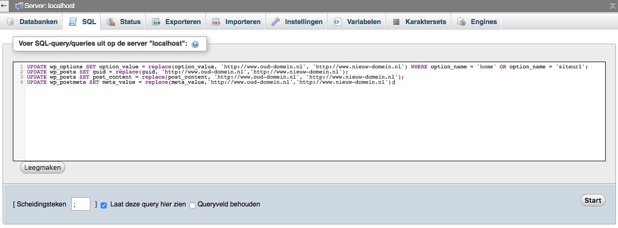 Je domeinnaam veranderen: het uitvoeren van de query via phpMyAdmin